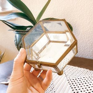Gold and Glass Hexagon Box with floral etching